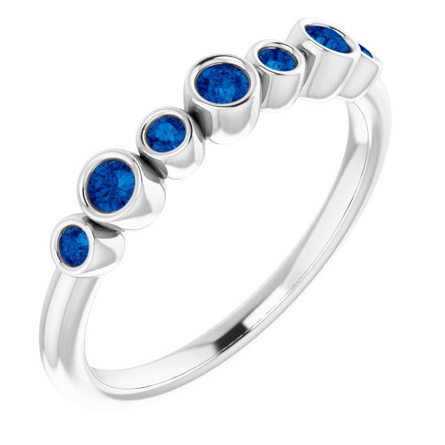 14K White Blue Sapphire Bezel-Set Ring