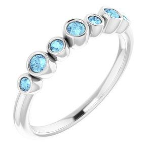 14K White Aquamarine Bezel-Set Ring