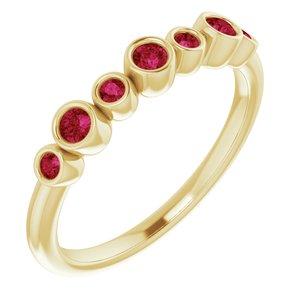 14K Yellow Chatham® Created Ruby Bezel-Set Ring