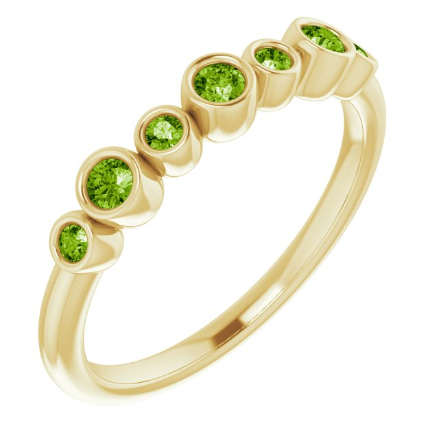 14K Yellow Peridot Bezel-Set Ring