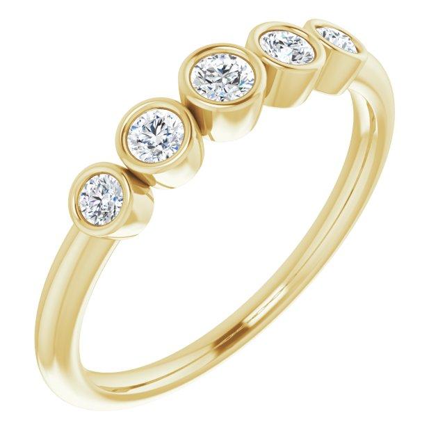 14K Yellow 1/4 CTW Diamond Graduated Bezel-Set Ring