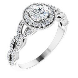 Diamond Semi-mount Infinity-Style Engagement Ring, Band or Mounting