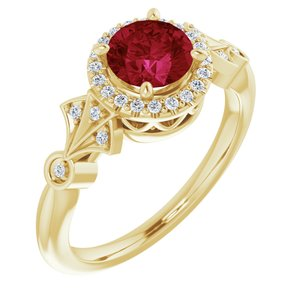 14K Yellow Chatham® Created Ruby & 1/6 CTW Diamond Ring