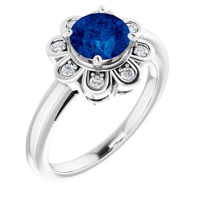 14K White Lab-Grown Blue Sapphire & 1/8 CTW Diamond Ring