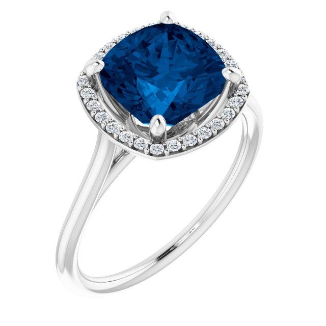 14K White Lab-Grown Blue Sapphire & 1/6 CTW Diamond Ring