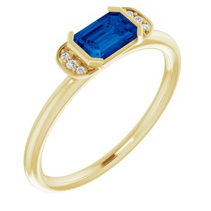 14K Yellow Lab-Grown Blue Sapphire & .02 CTW Diamond Ring