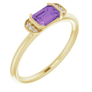14K Yellow Amethyst & .02 CTW Diamond Stackable Ring