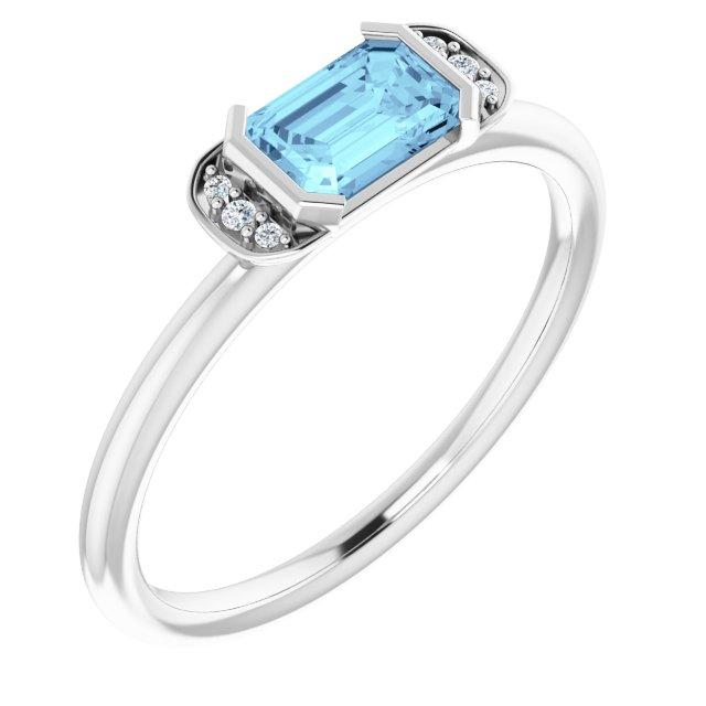14K White Aquamarine & .02 CTW Diamond Stackable Ring