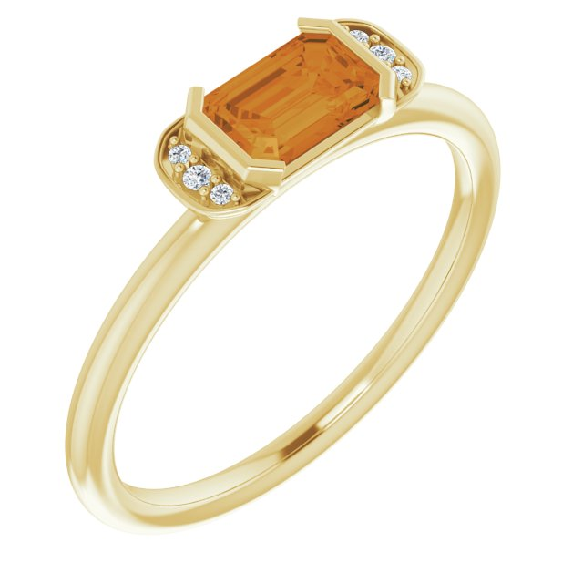 14K Yellow Citrine & .02 CTW Diamond Stackable Ring