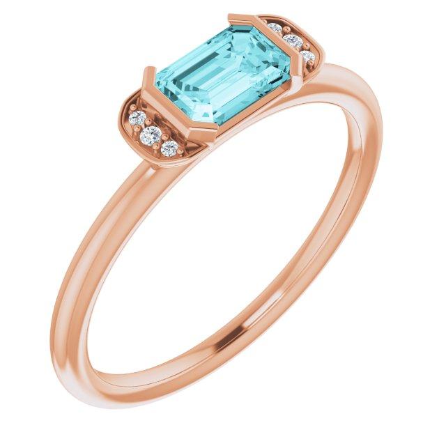 14K Rose Blue Zircon & .02 CTW Diamond Stackable Ring