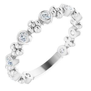 14K White 1/4 CTW Diamond Beaded Ring