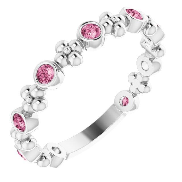 14K White Pink Tourmaline Beaded Ring
