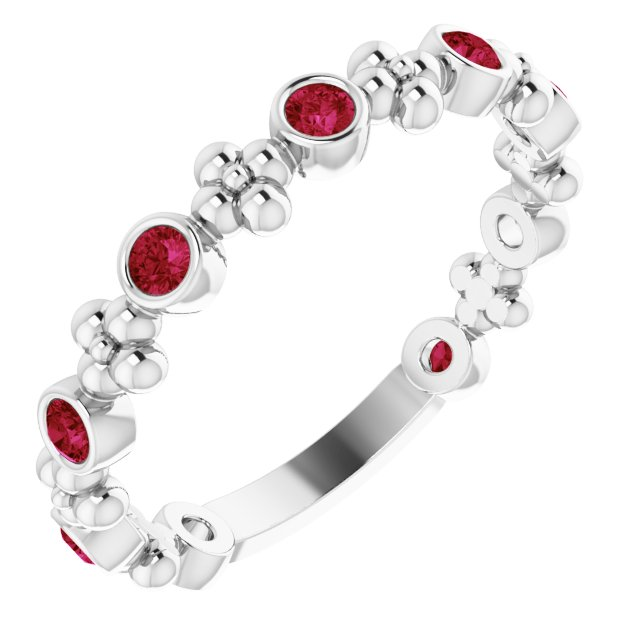 Sterling Silver Lab-Grown Ruby Beaded Ring