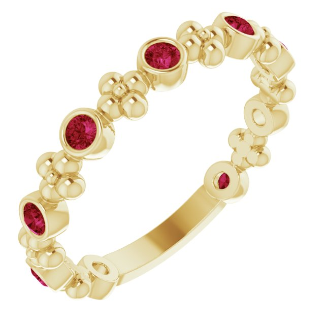 14K Yellow Chatham® Created Ruby Beaded Ring