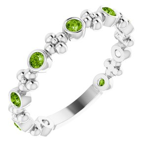 14K White Peridot Beaded Ring