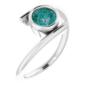 14K White Lab-Grown Alexandrite Ring
