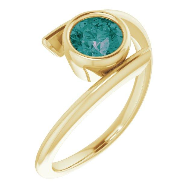 14K Yellow Chatham® Created Alexandrite Ring