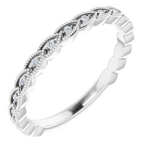 14K White .08 CTW Diamond Anniversary Band