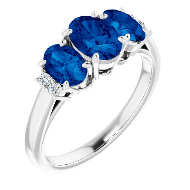 14K White Chatham® Created Blue Sapphire & .05 CTW Diamond Ring