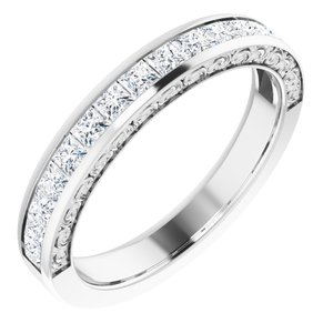 14K White 7/8 CTW Square Diamond Anniversary Band