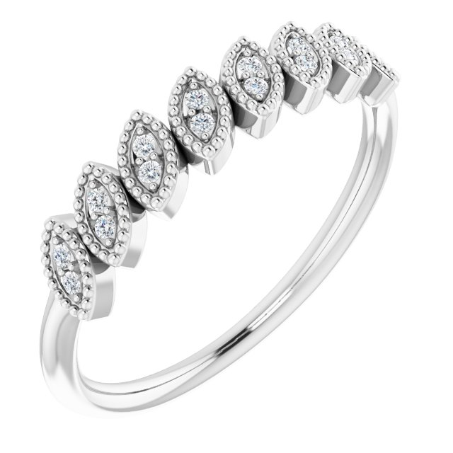 14K White 1/8 CTW Diamond Leaf Ring