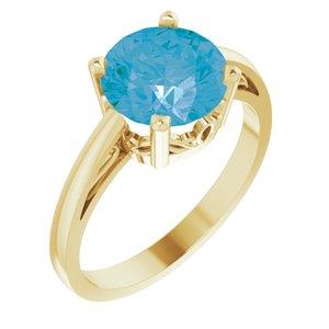 14K Yellow Swiss Blue Topaz Ring