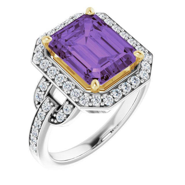 14K White/Yellow Amethyst & 1/2 CTW Diamond Ring