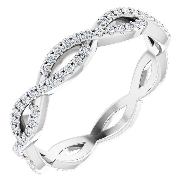 14K White 3/8 CTW Diamond Infinity-Inspired Eternity Band Size 8