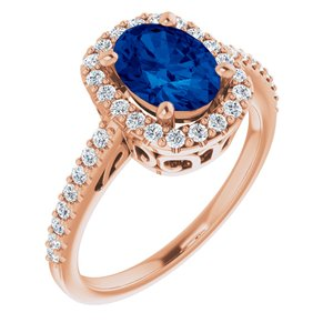 14K Rose Chatham® Created Blue Sapphire & 1/3 CTW Diamond Ring