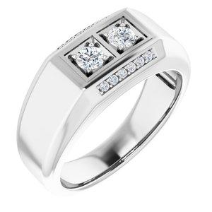 14K White 3/8 CTW Men-s Diamond Ring