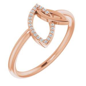 14K Rose .05 CTW Diamond Double Leaf Ring