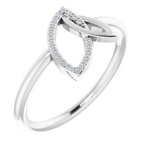 14K White .05 CTW Diamond Double Leaf Ring