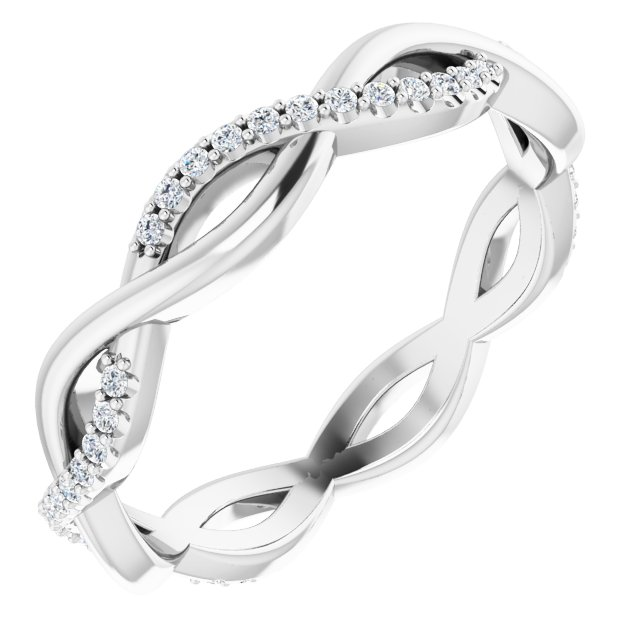 14K White 1/5 CTW Diamond Infinity-Inspired Eternity Band Size 7