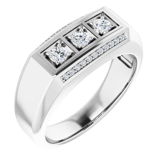 14K White 1/2 CTW Diamond Men-s Ring