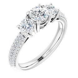 Three-Stone Pavé Engagement Ring