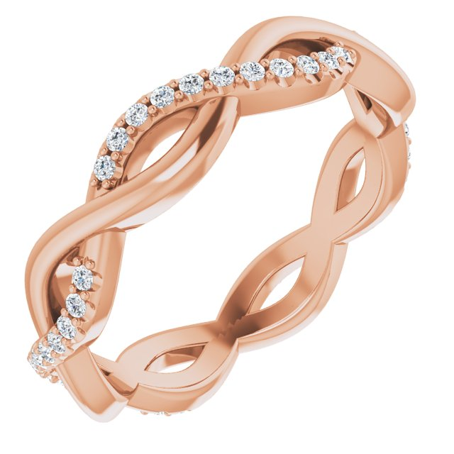14K Rose 1/5 CTW Diamond Infinity-Inspired Eternity Band Size 5
