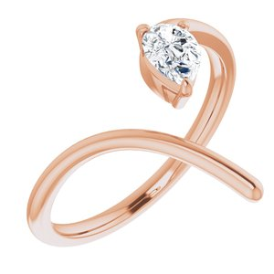 14K Rose 1/3 CTW Diamond Negative Space Ring