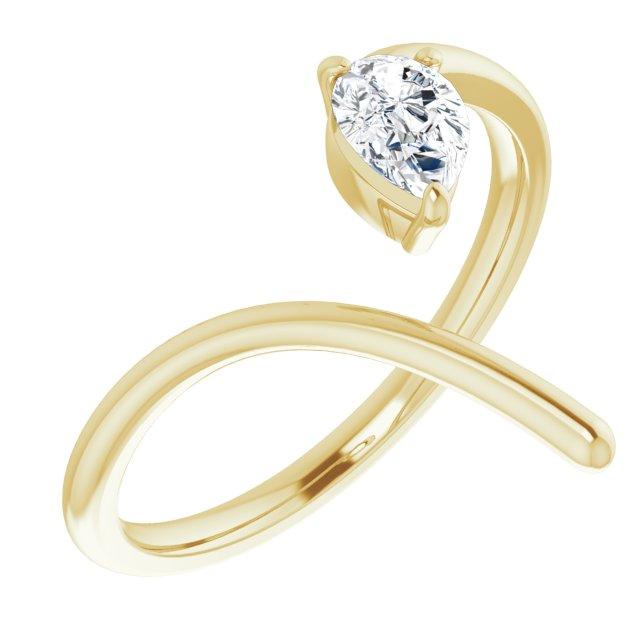 14K Yellow 1/3 CTW Diamond Negative Space Ring