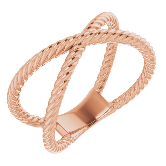14K Rose Criss-Cross Rope Ring