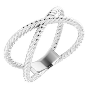 14K White Criss-Cross Rope Ring