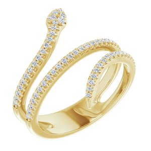 14K Yellow 1/3 CTW Diamond Snake Ring