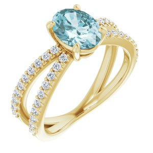 14K Yellow Sky Blue Topaz & 1/3 CTW Diamond Ring