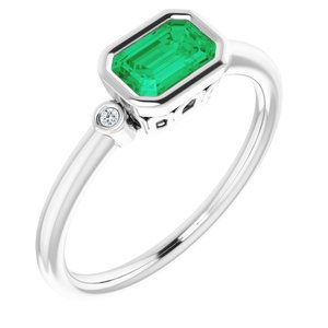 14K White Chatham® Created Emerald & .02 CTW Diamond Ring