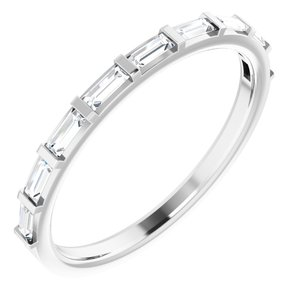 14K White 3/8 CTW Diamond Straight Baguette Anniversary Band