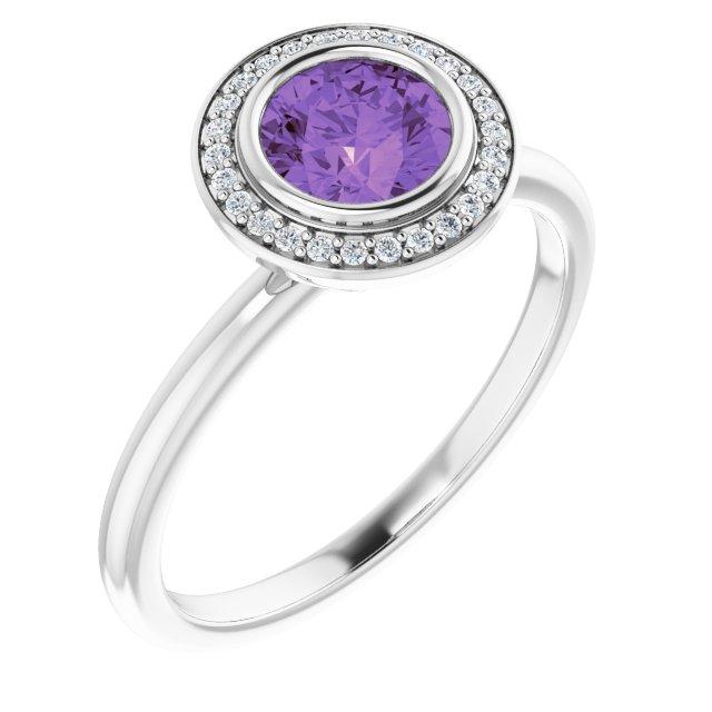 14K White Amethyst & .06 CTW Diamond Ring