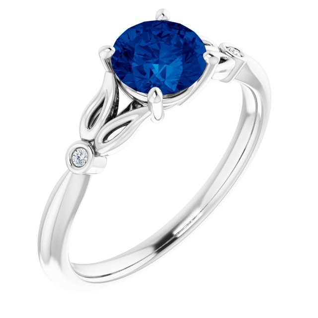 14K White Lab-Grown Blue Sapphire & .02 CTW Diamond Ring