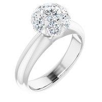 14K White 1/2 CTW Diamond Cluster Engagement Ring
