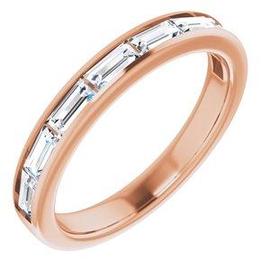 14K Rose White Sapphire Ring