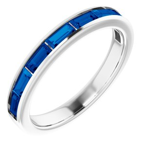 14K White Chatham® Created Blue Sapphire Ring