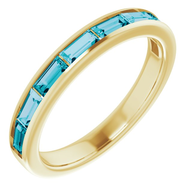 14K Yellow London Blue Topaz Ring
